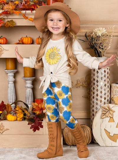 Girls Tie Knot Pullover Sweatshirt sunflower print and Printed Leggings Set