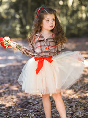 Girls Preppy Plaid Blazer Buttoned Tutu Dress with Ribbon Sash