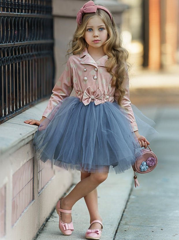 Girls Pink & Creme Polka Dot Blazer Grey Tutu Dress with Bow
