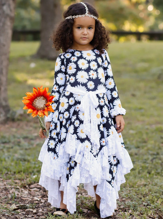 Girls Double Layer Handkerchief Dress with Lace Ruffles