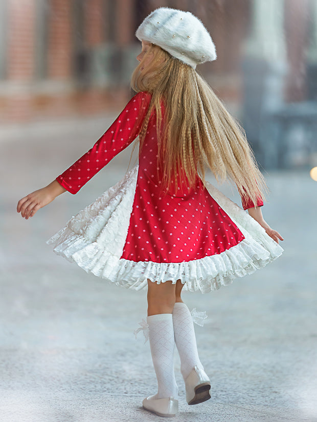 Girls Snowflake Print Long Sleeve Ruffled Rosebud Side Inserts Flare Dress