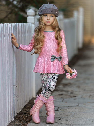 Girls Long Sleeve Peplum Bow Tunic & Leggings Set