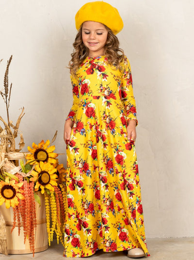 Girls Long Sleeve Floral Maxi Dress