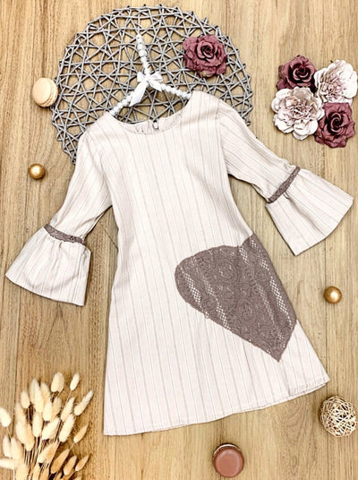 Girls Long Bell Sleeve Dress With Heart Applique