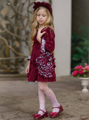 Girls Long Sleeve Ruffled Mesh Swirl Flower Dress