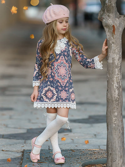 Girls Crochet Bib, Hem & Sleeve Boho Dress