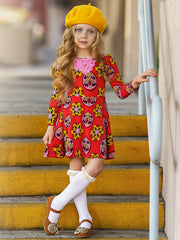 Girls Floral Long Sleeve Scoop Back Dress with Bow