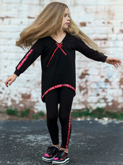 Girls V-Neck Hi-Lo Front Tie Ribbon Stripe Trim Sweatshirt & Leggings Set
