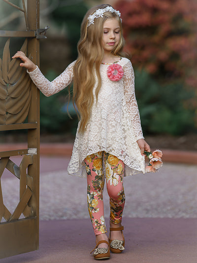 Girls Floral Temptations Long Sleeve Tunic & Leggings Set