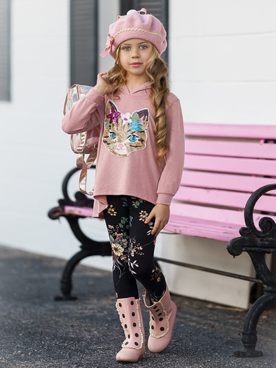 Girls Hi-Lo Sequin Cat Applique Hooded Sweatshirt & Floral Leggings Set