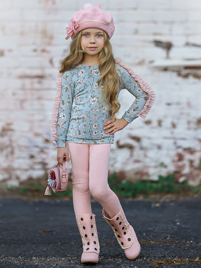 Girls Floral Long Sleeve Mesh Ruffled Sweatshirt & Leggings Set