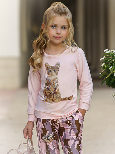 Girls Sequin Kitten Applique Sweatshirt & Sweatpants Set
