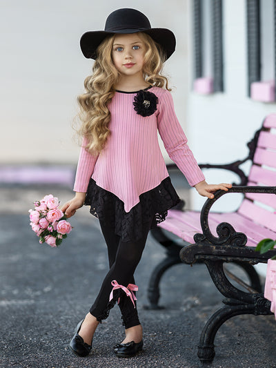 Girls Long Sleeve Striped Ruffled Lace Tunic & Trimmed Leggings Set