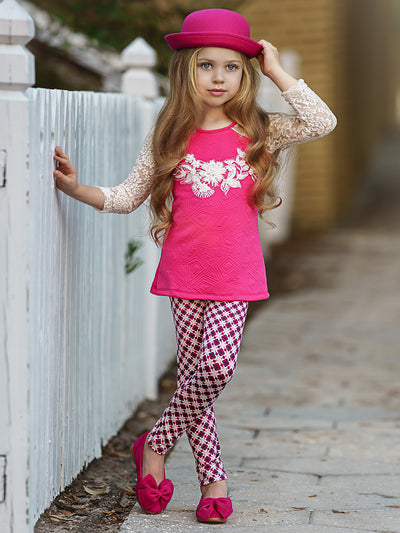 Girls Lace Long Raglan Sleeve Trimmed Tunic & Leggings Set