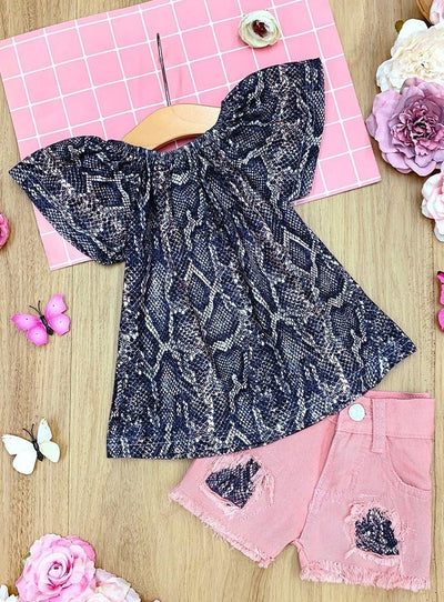 Girls Snake Print Ruffled Top and Patched Denim Shorts Set