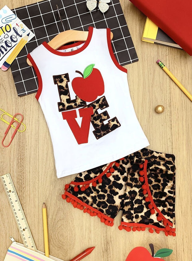 "Girls ""Love"" Apple Printed Top & Animal Print Pom Pom Shorts Set"