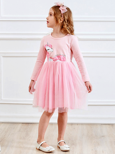 Girls Pink Unicorn Long Sleeve Spring Tutu Dress