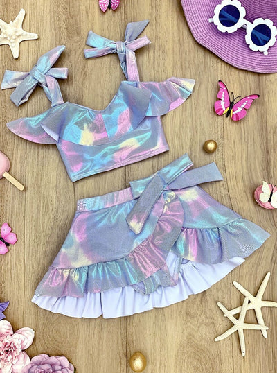 Girls Mermaid Scales Print Ruffled Top and Wrap Skirt Two Piece Swimsuit
