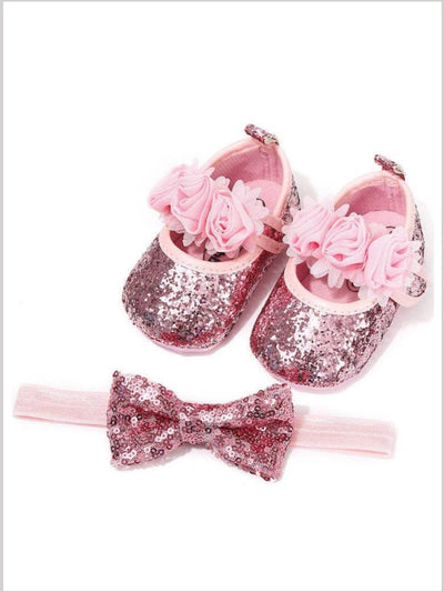 Baby Sequin Love Headband and Shoes Set