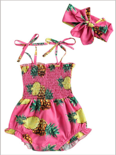 pineapple printed onesie with a stretchy bodice with adjustable shoulder straps with matching headband
