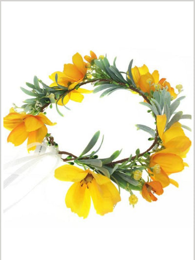 Girls Romantic Flower Halo - yellow