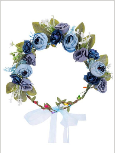Girls Pretty Flower and Leave Halo - blue