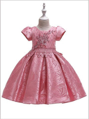 Girls Beaded Floral Applique Brocade Holiday Dress - Dark pink / 3T - Girls Fall Dressy Dress