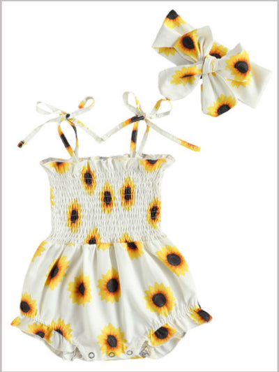 Baby sunflower printed onesie with a stretchy bodice with adjustable shoulder straps with matching headband