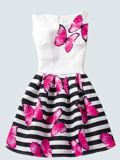 Girls Printed A-Line Dress - Hot Pink Butterfly / 6 - Girls Spring Casual Dress