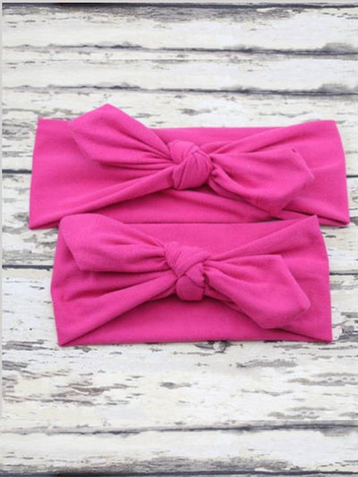 mommy and baby headband hot pink