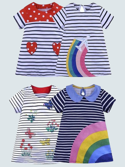 Girls Cute Striped Animal Casual Dress - Black / 2T - Girls Fall Casual Dress