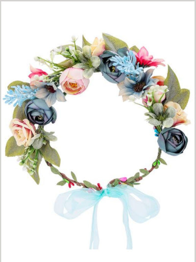 Girls Pretty Flower and Leave Halo - multicolor