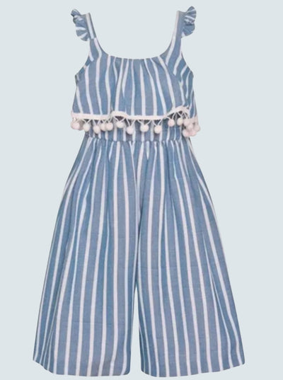 Girls Striped Jumpsuit with large bib and pompom ruffles 2T-10Y