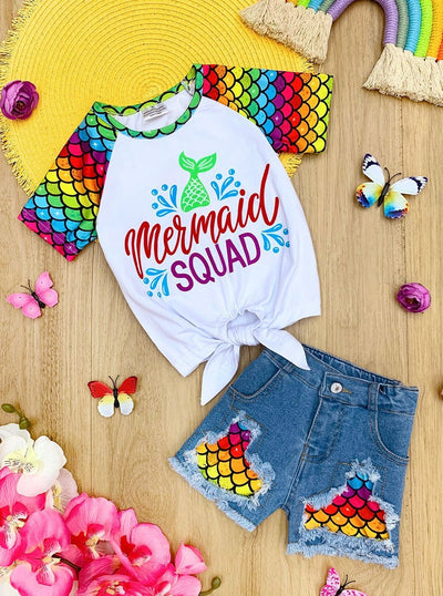 "Girls Rainbow ""Mermaid Squad"" Knot Top and Patched Denim Shorts Set"