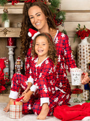 Mommy and Me Long Sleeve Buttoned Plaid Christmas Tree Print Pajama Set