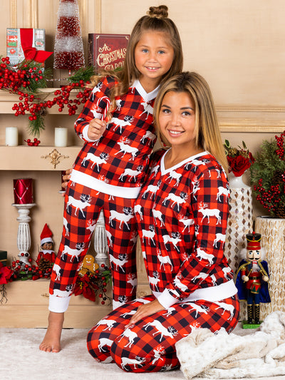 mommy and Me Plaid With Reindeer Print Pajama Set