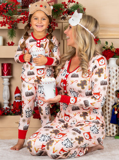 mommy & Me Long Sleeve Button Down Christmas Print Pajama Set