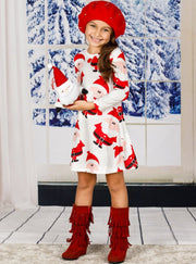 Girls Christmas Themed Long Sleeve Santa Print Dress