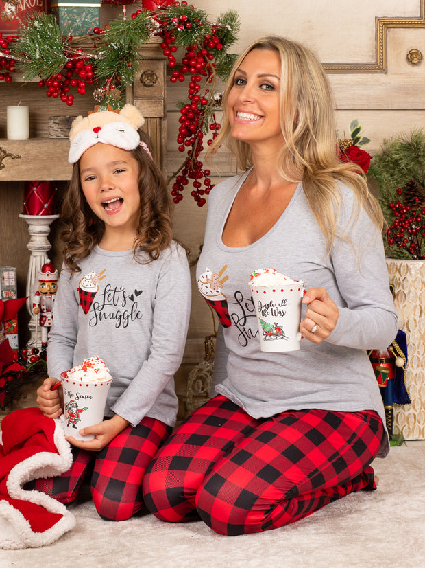 "Mommy and Me ""Let's Snuggle"" Plaid Pajama Set"