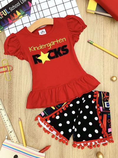 "Girls 1st Day of School ""Kindergarten Rocks"" Ruffled Top & Dotted School Supplies Print Pom Pom Shorts Set"