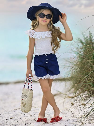Girls Smocked Lace Ruffled Top and Denim Button Shorts Set