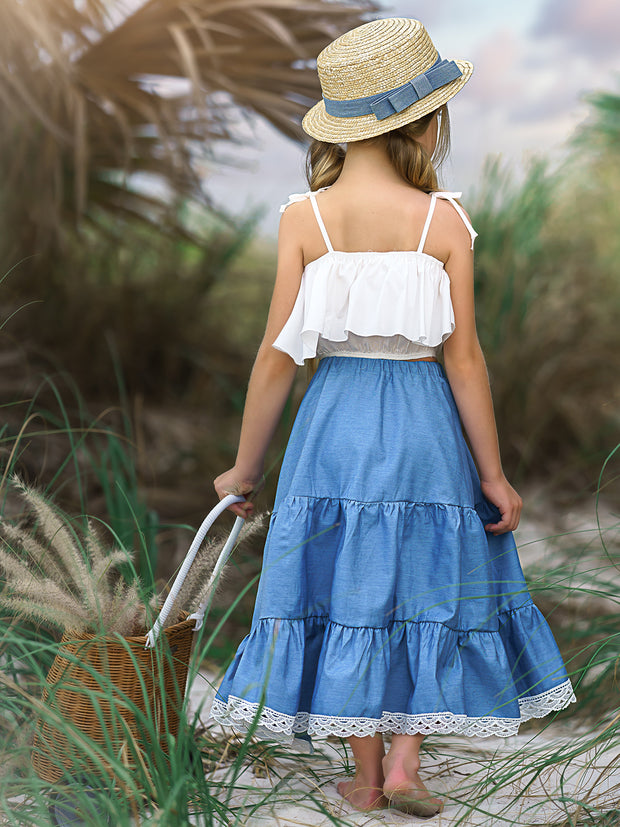 Girls Ruffle Crop Top and Chambray Lace Hem Skirt Set - Girls Spring Casual Set