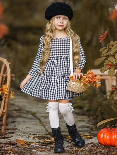 Girls Plaid Tiered Ruffled Dress With Black Bowtie Detail