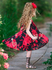 girls spring hi-low black with red floral dress 2T/3T to 10Y/12Y