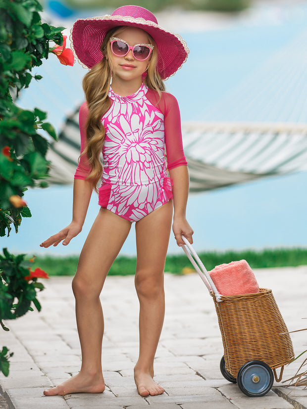 Girls Party Crasher Rash Guard Two Piece Swimsuit