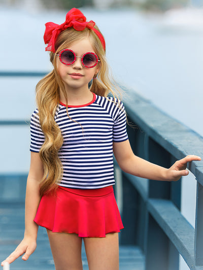 girls  white and navy striped rashgaurd and red skirt bottoms  2T-10Y