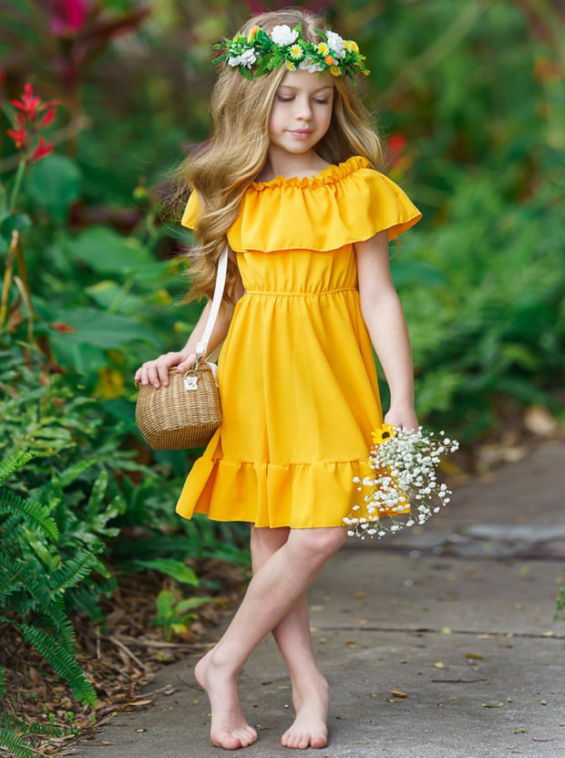 Girls Should Straps with Oversized Off-Shoulder Bib Ruffled Summer Dress 2T-10Y yellow