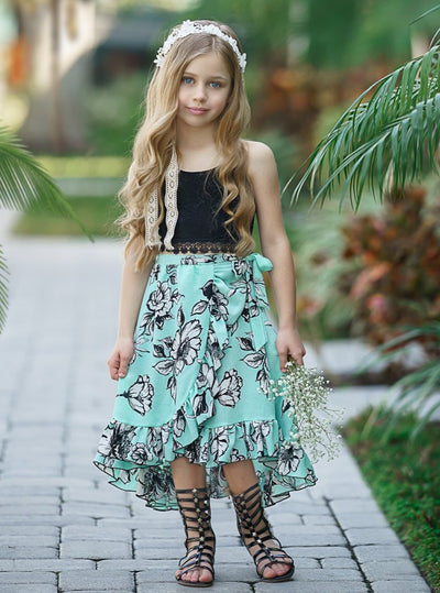 Girls Halter Crochet Crop Top and Ruffled Hi-Lo Wrap Skirt Set Mint and black Spring 2T/3T to 10Y