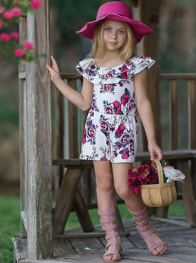 Girls Double Ruffle Floral Rose Romper 2T-8Y