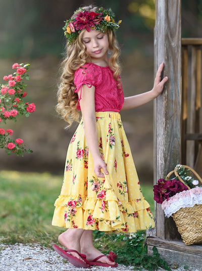 girls boho yellow floral maxi skirt with floral print and red cropped lace top Spring 2T/3T to 10Y/12Y